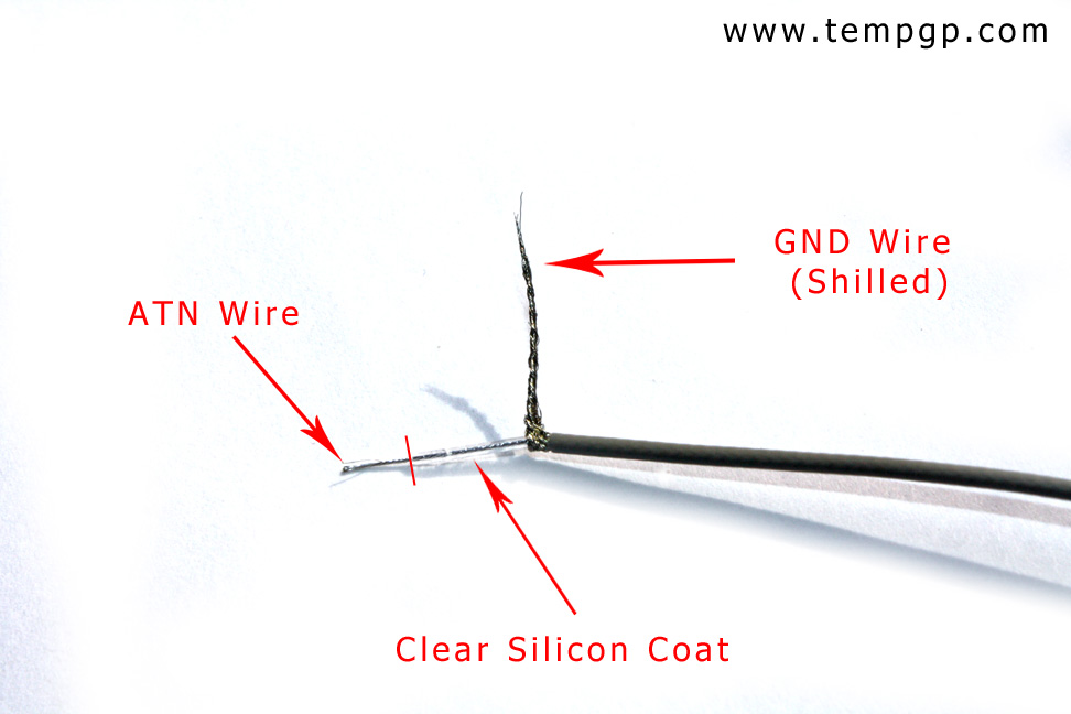 prepare signal and ground shield on RF cable for connector assambly